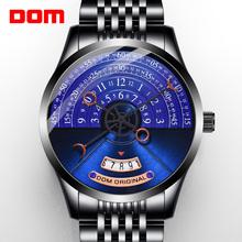 DOM moda kreatywne męskie zegarki mechaniczne zegarki męskie zegarki luksusowe męskie zegarki reloj mujer seks saat M-1335 tanie tanio 3Bar CN (pochodzenie) Przycisk ukryte zapięcie Moda casual Automatyczne self-wiatr 20cm STAINLESS STEEL M-1335BK-2M ROUND