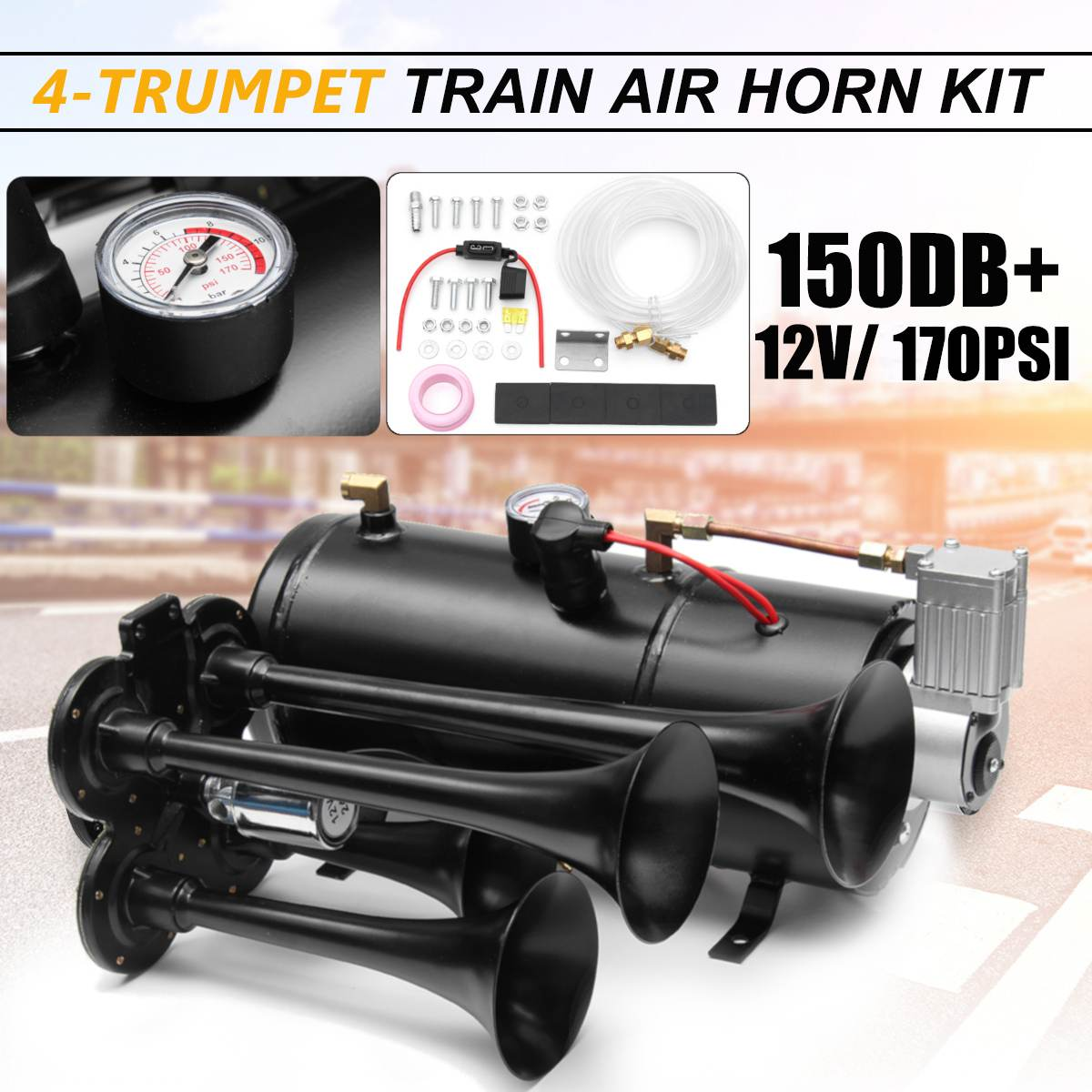 Воздушный рожковый комплект с 4 трубами для грузового поезда, черный, 170 PSI, 12 В, 3 литра, компрессор и дом, 150 дБ