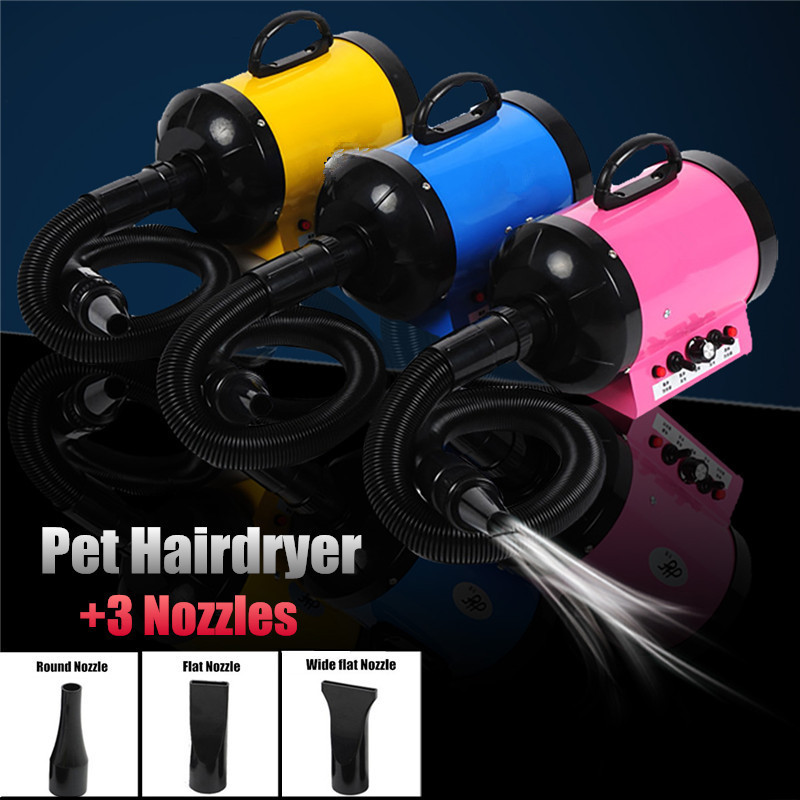 110V-220V 2800W Dog Pet Grooming Dryer Wind Power/Temperature Adjustable Hair Dryer Blower Low Noise Fast Drying Removable