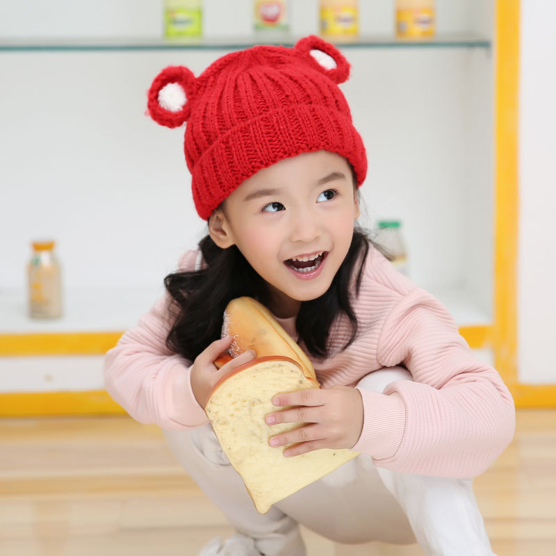 Knitting Hats Wool-Hat Ears Bear Children Three-Dimensional Thickening Little Solid-Color