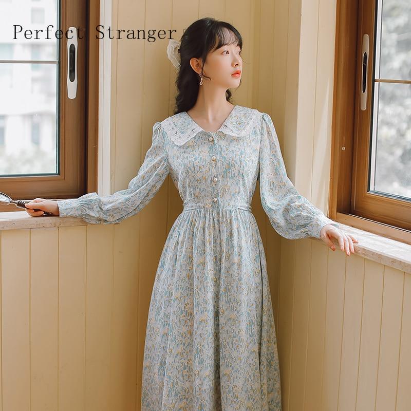 2020 Autumn New Arrival Korean Hot Sale Peter Pan Collar Flower Printed Long Sleeve Women Chiffon Long Dress