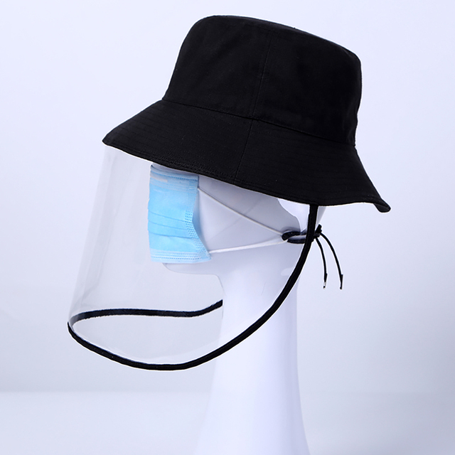 mascherine Anti-Saliva Dual-use Hat Protective Face Shield Cover Hat Anti Spitting Saliva Drool Fisherman Cap with Clear Facia 3