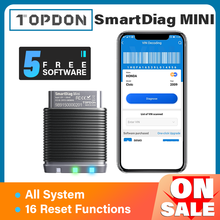 TOPDON SmartDiag Mini Bluetooth 5 Free Softwares Car Diagnostic Tool Automotive Scanner Auto Scan All System PK Thinkdiag Mini