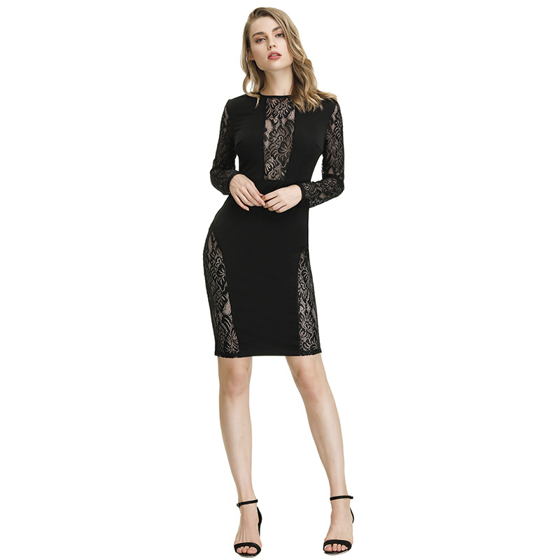 Women Embroidery Elegant Vintage Lace Dress Fabric Hollow out Pencil Office Bodycon Evening Party Dresses Vestidos
