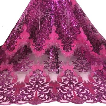 African Velvet lace fabric 5Yards Guipure Lace Mesh Sequin Embroidery Lace Fabric For Wedding f200311