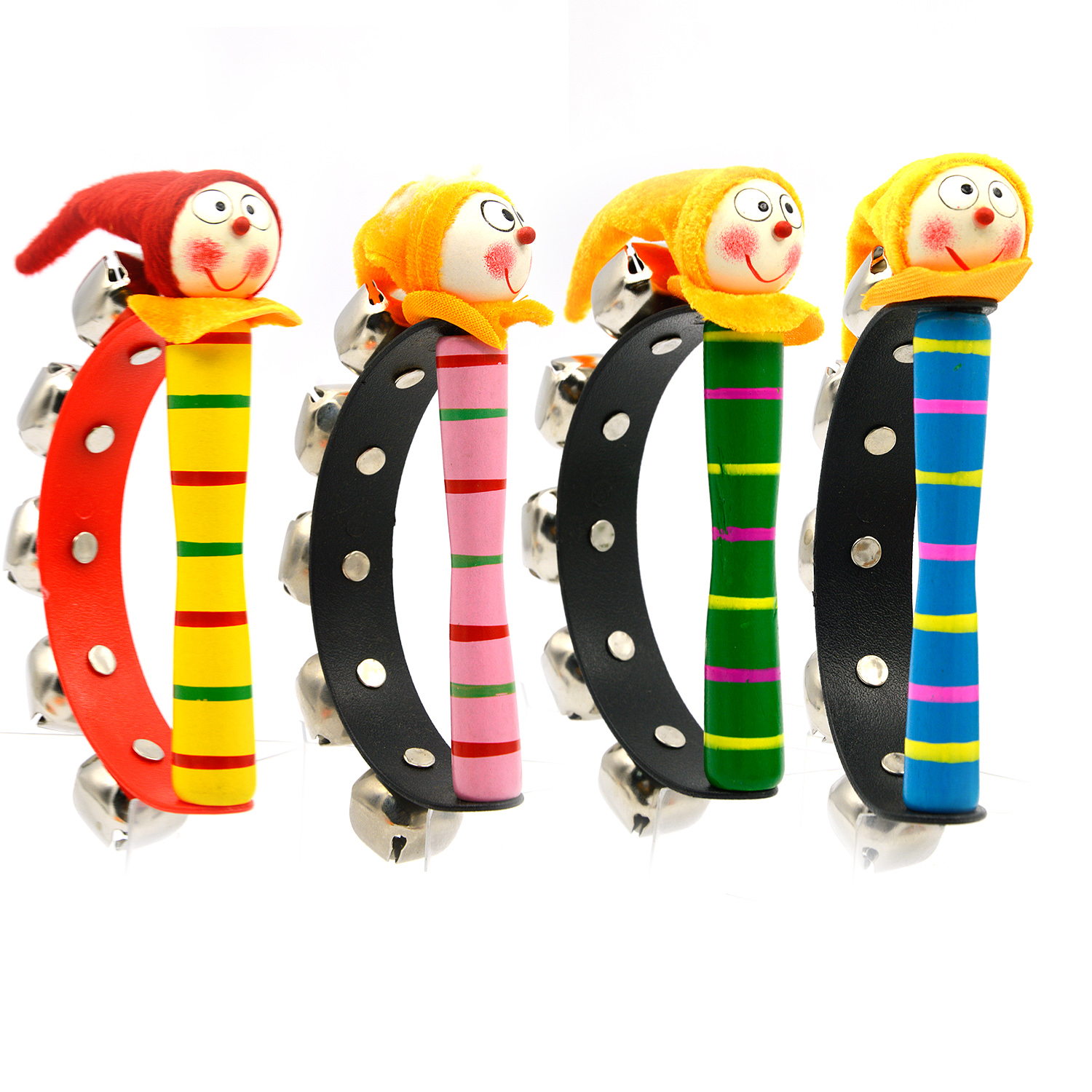 1Pcs Cute Wooden Clown Jingle Hand Shake Ring Bells Rattles Toy Musical Instruments Kid Baby Infant Educational Toy Random Color sneakers