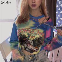 Nibber Warna-warni Dicetak Hip Hop Gaya Rantai Logam T-shirt Women2019autumn Fashion Kasual Hip-Hop Punk Penuh Lengan Tanaman Top Mujer(China)
