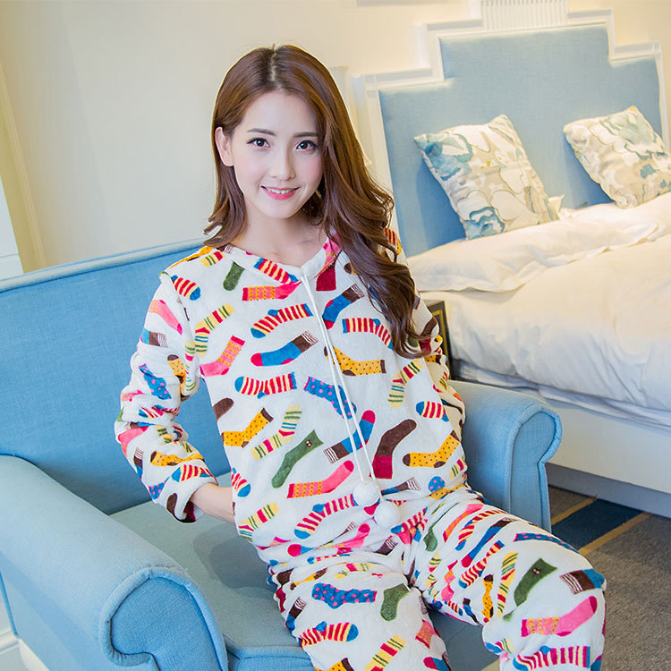 According To Feminine Korean-style Sweet Cute Pajamas Women's Autumn And Winter Thin Sweet Cartoon Socks Long-sleeve Suit Flanne