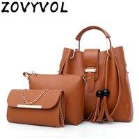 ZOVYVOL Women Shoulder Bag Fashion 3Pcs High Quality Female Tassel M Bag Crossbody Bag Handbag Leather Shoulder Bag