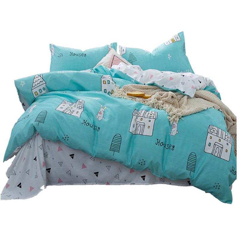 3/4 Pcs Printed Solid Bedding Sets Child Duvet Cover Cartoon Quilt Bed Sheet Pillowcases Cover Set Comforter Single Douleb Bed