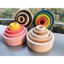 Baby Wooden Toys Rainbow Nesting Bowls /Color Unpaint Nature Wood Stackable Bowls Kids Montessori Toy