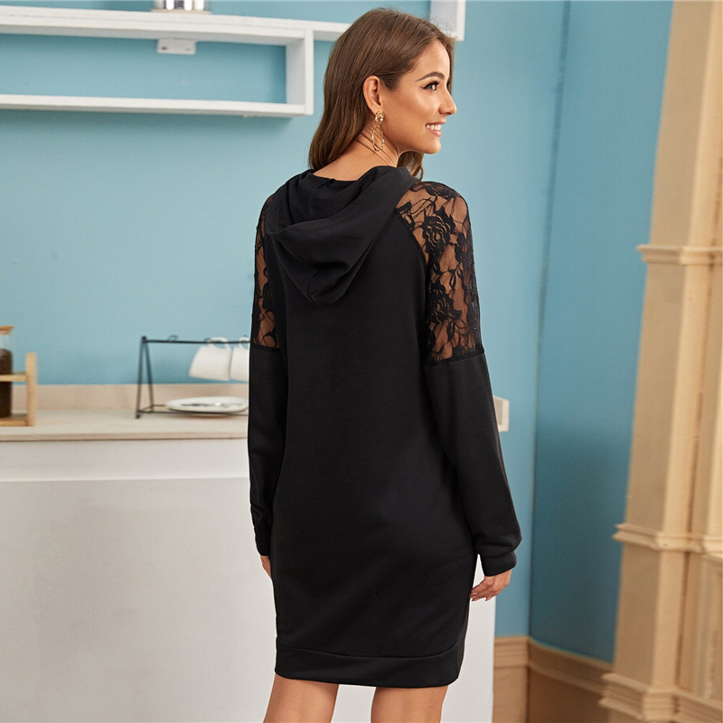 SHEIN Contrast Lace Casual Hooded Sweatshirt Dress Womens Clothing Spring Streetwear Solid Long Sleeve Ladies Short Dresses