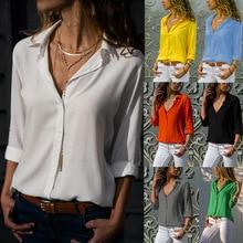 Oufisun Plus Size Women Blouses 2019 Autumn Elegant Long Sleeve Deep V-Neck Chiffon Shirt