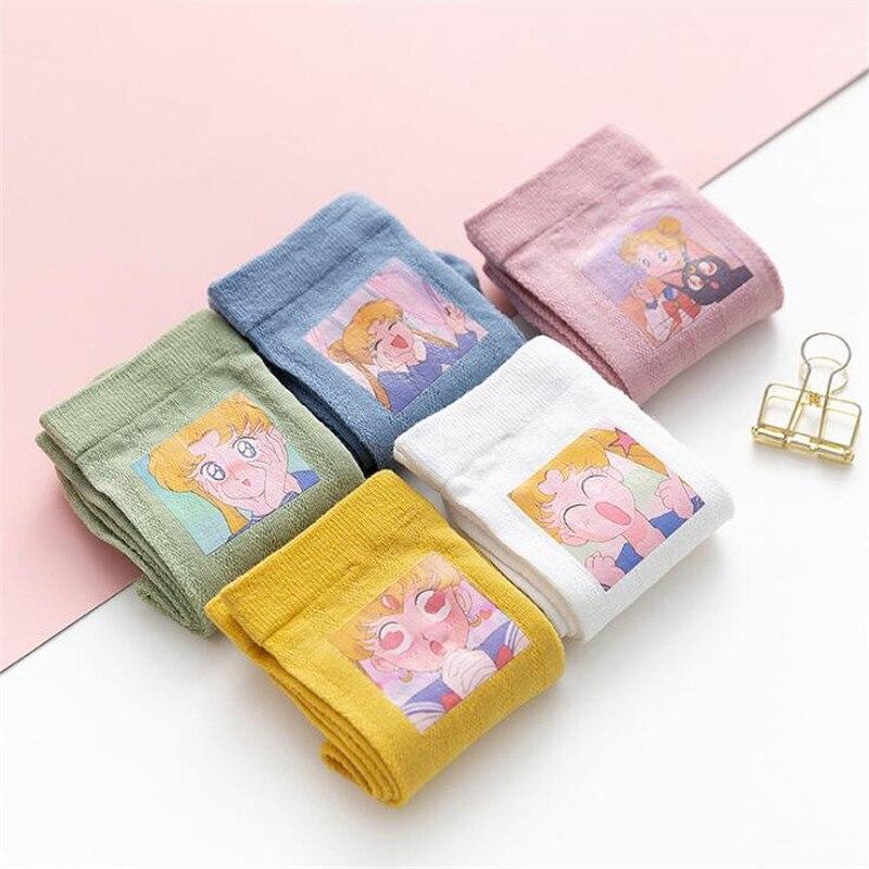 Kawaii Sailor Moon Socks Female Harajuku Vintage Cotton Short Socks Girls Streetwear Funny Socks With Print Cute Cotton Meias