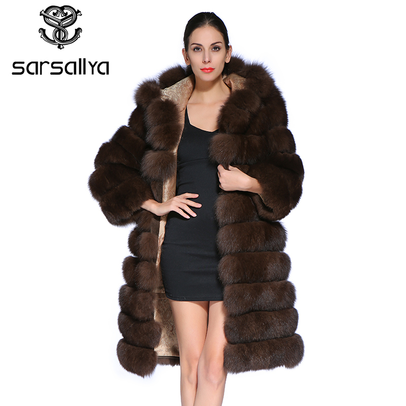 Fur Coat Hooded Female Real Fox Fur Coat Long Winter Warm Jacket Women Luxury Brand Clothes Detachable Sleeves Vest Plus Size