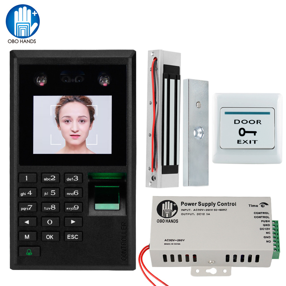 2.8'' Face Fingerprint Access Control System Kit Biometric Password Keypad + Electromagnetic Electric 180KG Magnetic / Bolt Lock