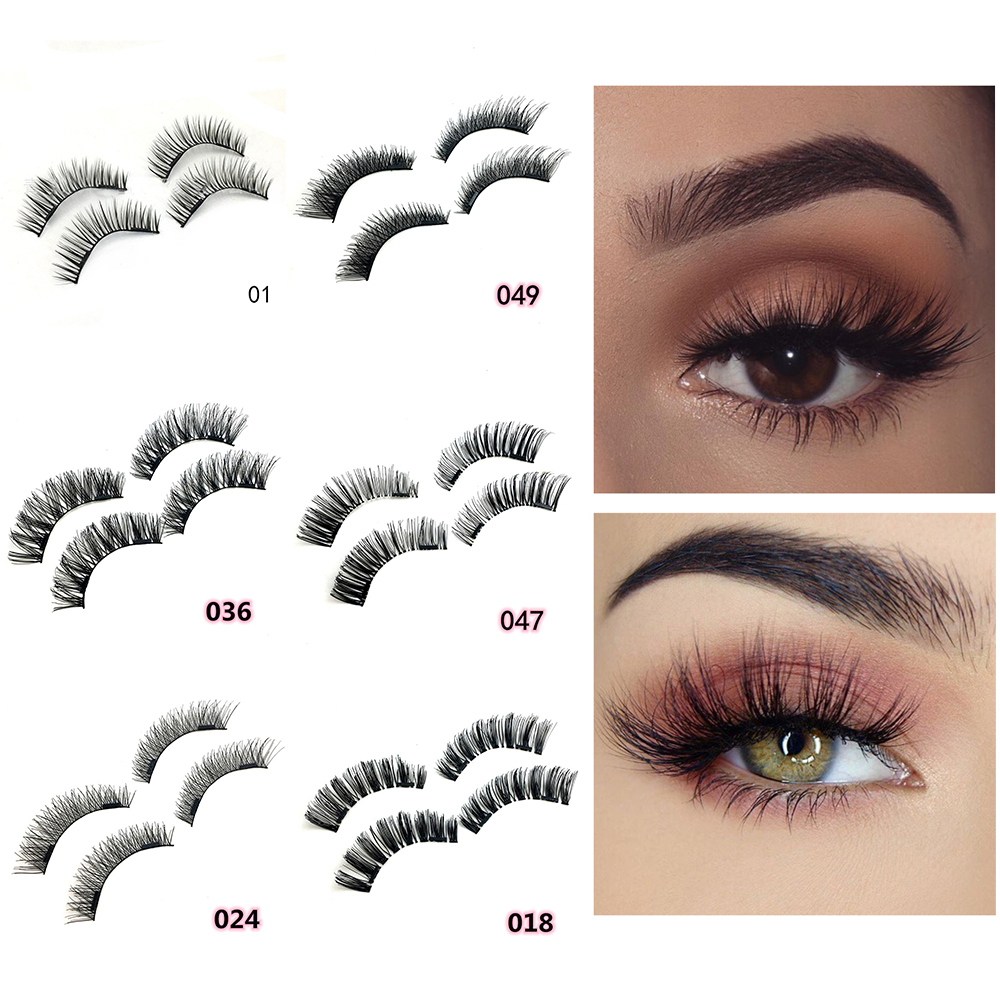 2pairs Magnetic Flase Eyelashes Naturally No Glue Thick Curl Manual Eyelashes 3D Eye Beauty Grafting Fake Eyelashes Professional