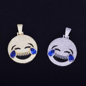 Image 5 - 笑い顔ペンダントネックレスチェーンゴールドブルー立方ジルコン男性のヒップホップ · ロックのジュエリー