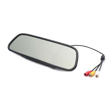 EEMRKE 4.3 Inch DIGITAL TFT LCD Mirror Monitor Car Rearview Backup Camera Screen 2 Video Input NTSC PAL Color TV 16: 9 image