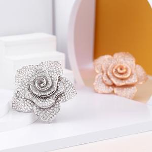 Image 2 - ERLUER bagues de bijoux de marque pour femmes, bague de luxe, en cristal rose, zircon, à la mode, pour fêtes de mariage, de luxe