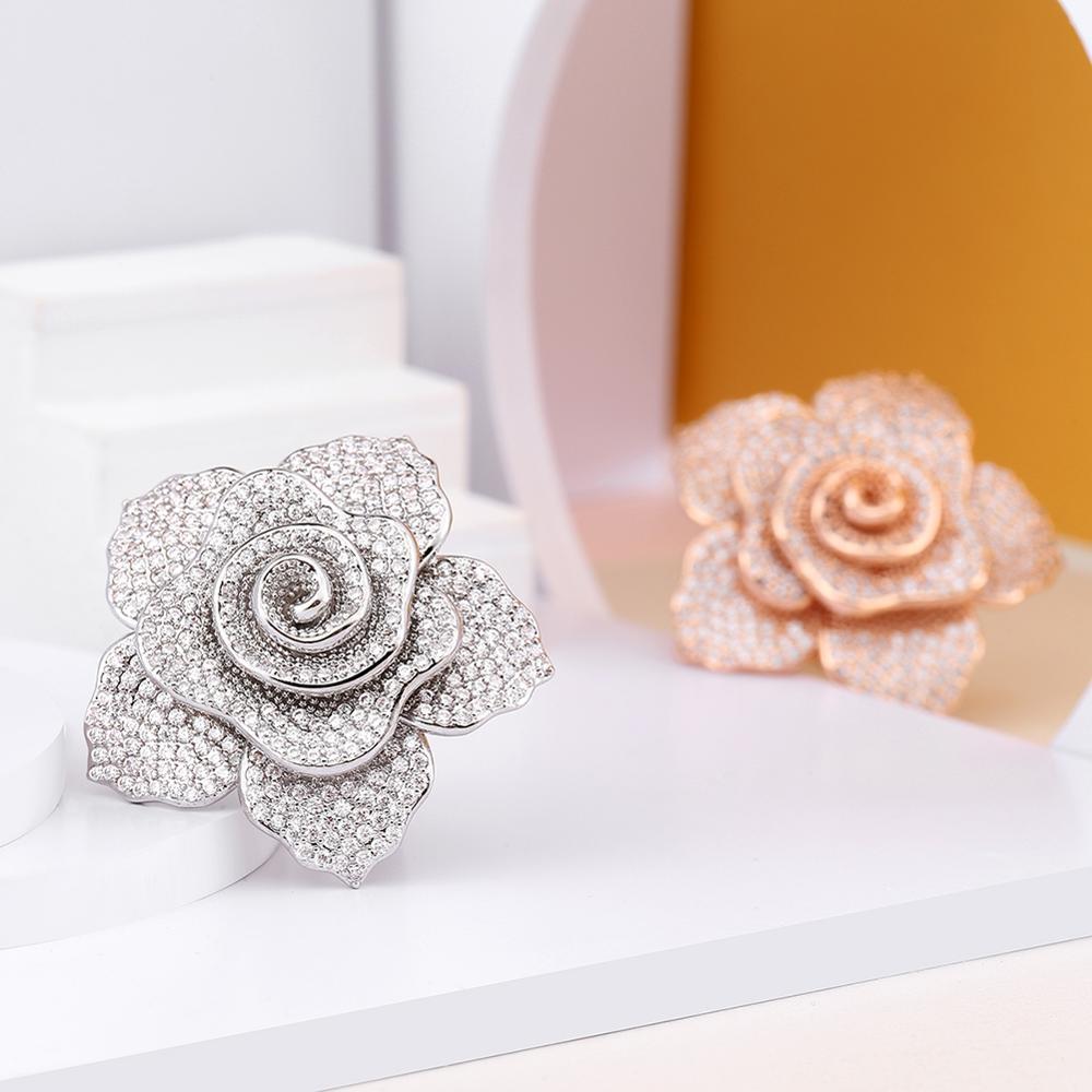 Image 2 - ERLUER déclaration marque bijoux anneaux pour femmes mode or rose cristal zircon fleur de luxe fête de mariage bague filleAnneaux   -