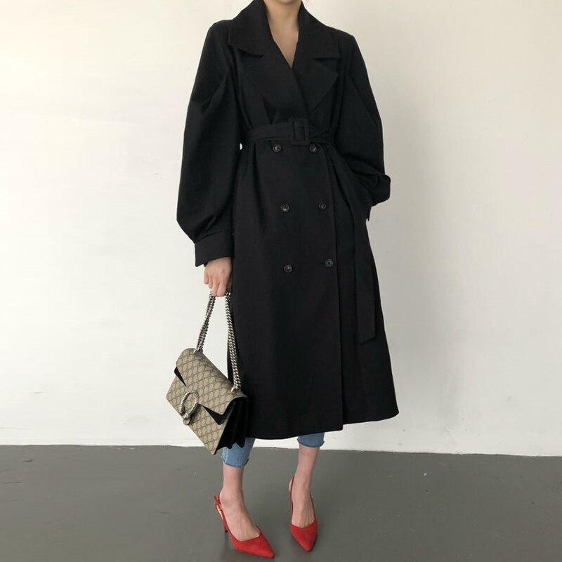 SMTHMA 2020秋季新款優雅雙排扣風衣女式皮帶女式韓國別緻長風衣女大衣女式女裝cb5feb1b7314637725a2e7:照片顏色 照片顏色
