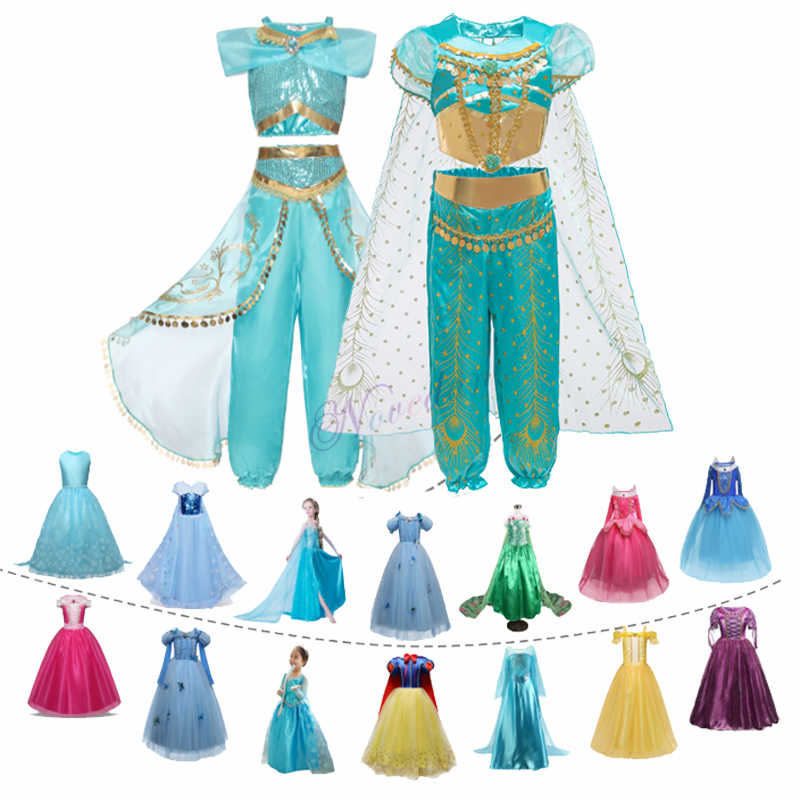 Aladdin Peri Putri Kostum Rapunzel Dress Pesta Halloween Karnaval Aurora Cosplay Dress Up Anak Bayi Anna Elsa Gaun