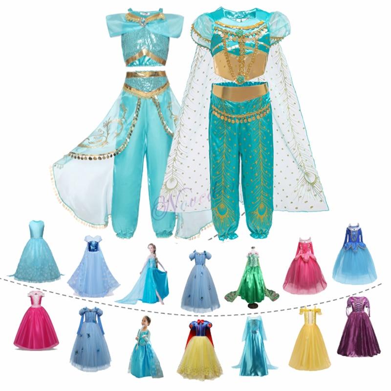 Aladdin Fairy Princess Costume Rapunzel Dress Party Halloween Carnival Aurora Cosplay Dress Up Kids Baby Anna Elsa Dresses