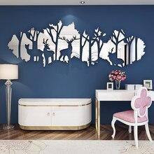Tamanho grande floresta veados acrílico espelho adesivos de parede sala estar personalizado 3d adesivos de parede decoração interior para casa