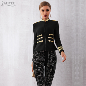 Image 4 - Adyce gabardina ceñida de primavera para mujer, chaqueta Sexy negra con cremallera frontal, de manga larga para fiesta y Club, 2020