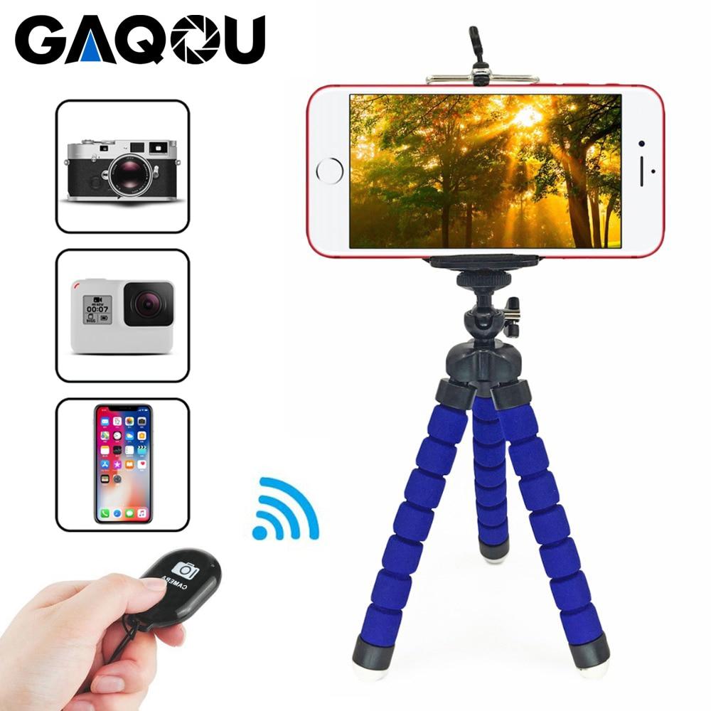 Gaqou tripé + clipe suporte mini flexível para câmera suporte do telefone móvel suporte flexível polvo esponja tripé com controle remoto