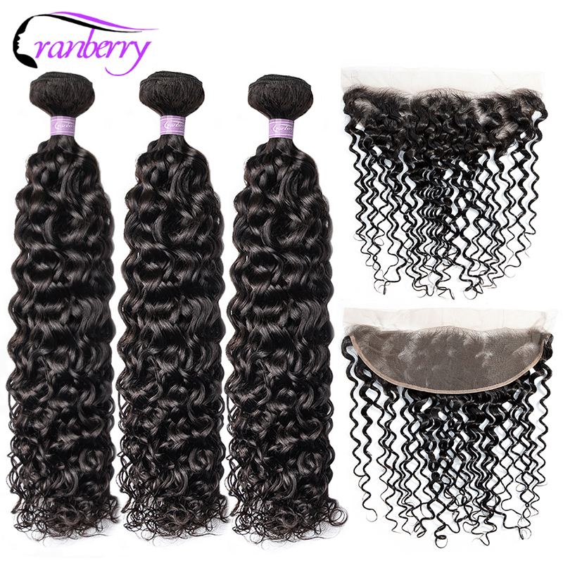 Cranberry Hair Brazilian Hair Bundles With Closure Water Wave Bundles With Frontal 100% Remy Hair Bundles Free Shipping