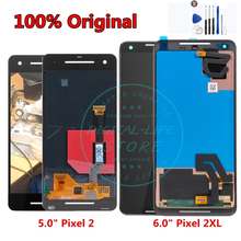 100% الأصلي ل جوجل بكسل 2 XL شاشة إل سي دي باللمس شاشة ل جوجل بكسل XL2 2XL LCD محول الأرقام الجمعية استبدال أجزاء