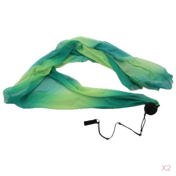2 Pack Silk Veil Poi Thrown Ball For Belly Dance Yoga Party Club Accessories