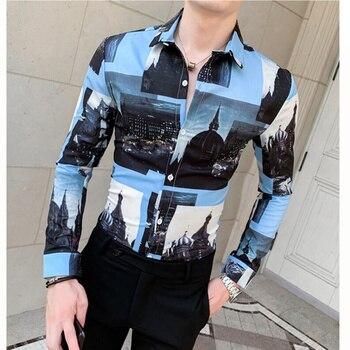 цена 2019 men shirt streetwear shirt hawaiian shirt Autumn Fashion Shirt Casual Long Sleeve Beach Top printing Loose Casual Blouse онлайн в 2017 году