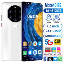 Global Version Mate40 RS 7.3Inch Smartphone 6800mAh 16+512GB Full Screen Dual SIM Support Face\Fingerprint Unlock 5G MobilePhone
