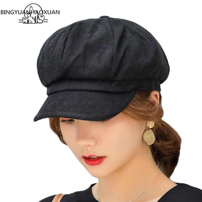 Unisex Octagonal Hat Men Autumn Velvet Fabric Women Gorras Cap Newsboy Women's Solid Color Hats For Men Berets