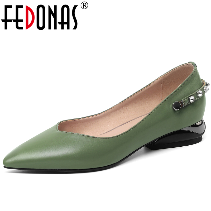 FEDONAS Euro Style Concise Women Cow Leather Shoes Solid Color Casual Office Rhinestone Low Heel Pointed Toe Shallow Shoes Woman