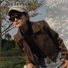 CHEERART Brown Crop Leather Jacket Women Biker Slim PU Short Coat Motorcycle Moto Faux Overcoat