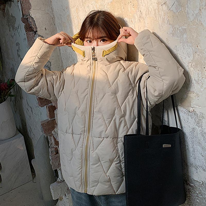 2019 Winter New Short Jacket Women Standing Collar Female Hooded Coat_B0_11