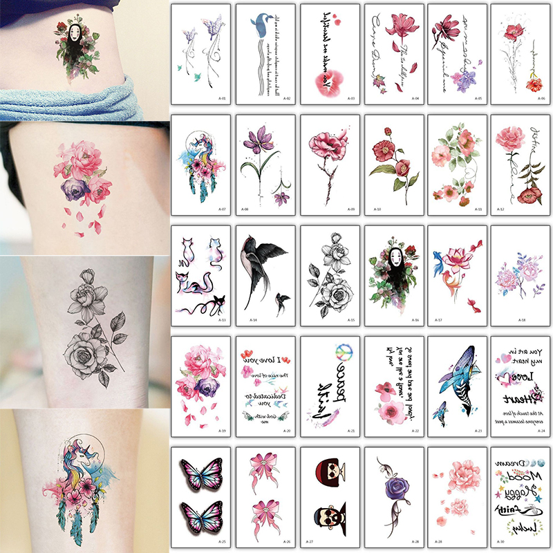 30pcs/lot Temporary Tattoo Women Rose Lotus Sunflower Tattoo Small On Hand Neck Wrist Text Heartbeat Tatoo Fake Waterproof Set