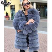 BFFUR Woman Real Fox Fur Coat 90cm Long Thick Warm Genuine Blue Fox Fur Jackets Whole Skin Natural Women Fur Overcoats Luxury