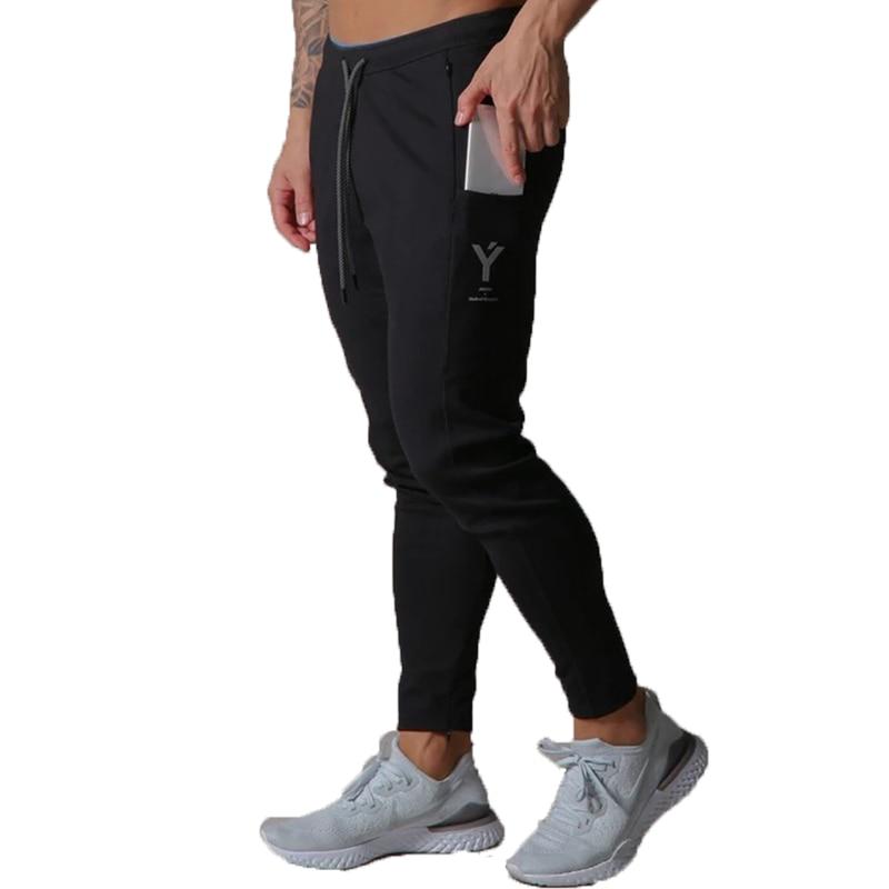 New Sweatpants Men Cotton Slim Jogging Pants Invisible Pocket Men's Gym Fitness Sports Fashion Zipper Bodybuilding Pants