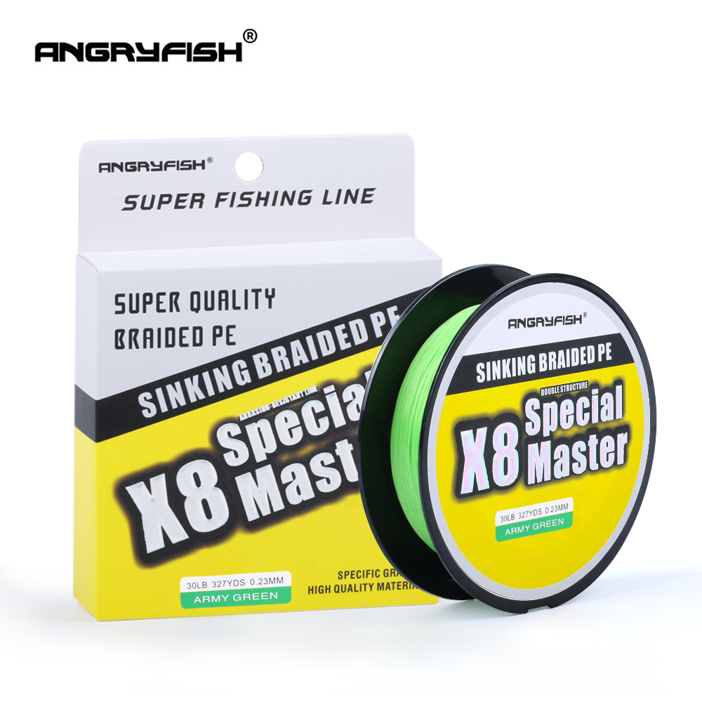Angryfish X8 300M Master Series 8 + 1 Fast Sinking Braided สายคู่ Structre Strong Abrasion Braided PE 20-80LB title=