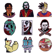 K1930 1 PCS Horror Movies Clown Pins Metal Enamel Pins and Brooches for Lapel Pin Backpack Bags Badge Collection Gifts k678 ghost clown it horror metal enamel pins and brooches for lapel pin backpack badge collection halloween gifts for kids