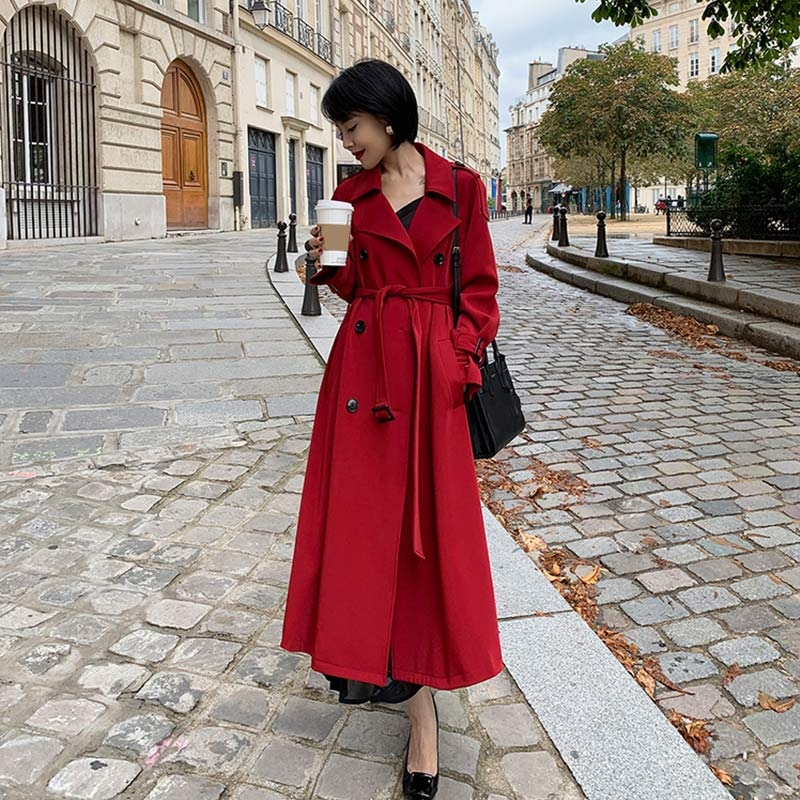 2019 Autumn New Women's Casual   Trench   Coat Oversize Double Breasted Vintage Washed Outwear Loose Ladies Clothing