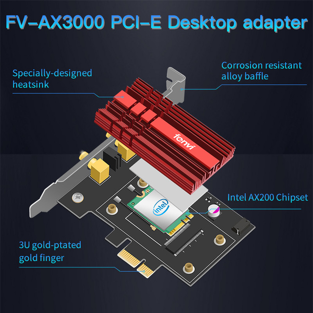 FV-AX3000 Dual Band 2.4Gbps WiFi-6 AX200 Gigabit Network Card Pcie Wifi Bluetooth 5.0 Wireless Adapter For Pc Desktop Windows 10