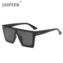 JASPEER Male Flat Top Sunglasses Men Brand Black Square Shades UV400 Gradient Sun Glasses For Cool One Piece Designer