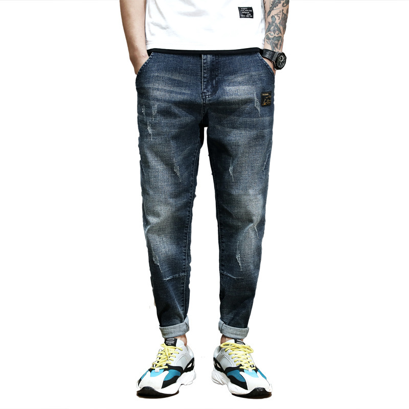 #2143 Blue Black Denim   Jeans   Men Plus Size 42 Stretch Denim Pencil Harem   Jeans   Homme Japanese Streetwear Joggers   Jeans   Loose
