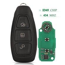 Bilchave 3 botões 434mhz remoto inteligente chave do carro id49 chip fob para ford escape focus fiesta mondeo b max c max kuga com lâmina